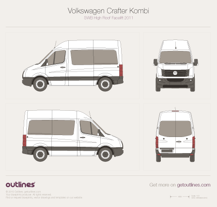 2011 Volkswagen Crafter Kombi SWB High Roof Facelift Wagon blueprint