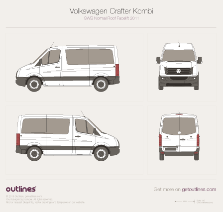 2011 Volkswagen Crafter Kombi SWB Normal Roof Facelift Wagon blueprint