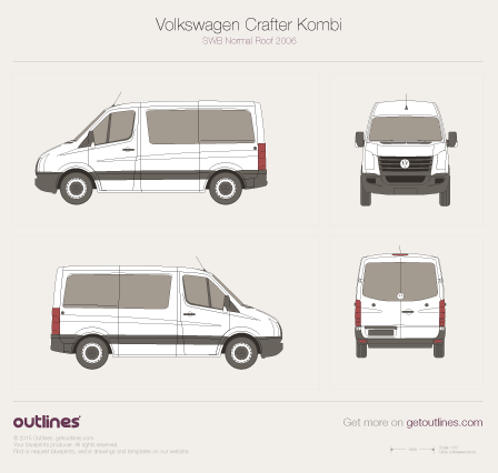 2006 Volkswagen Crafter Kombi SWB Normal Roof Wagon blueprint