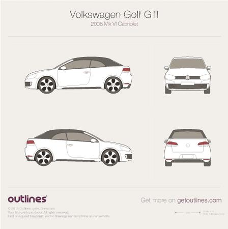 2009 Volkswagen Golf GTi Mk VI Cabriolet blueprints and drawings