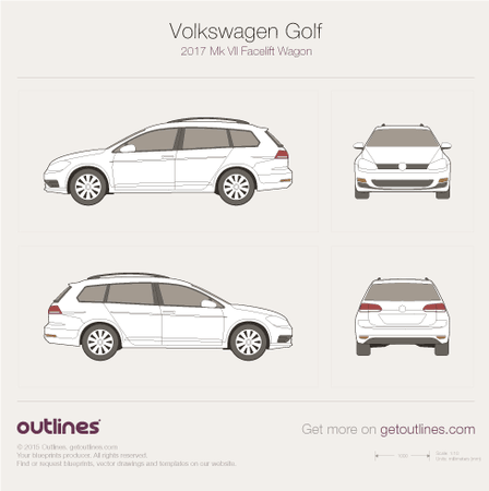 2017 Volkswagen Golf Mk7 Facelift Wagon drawings