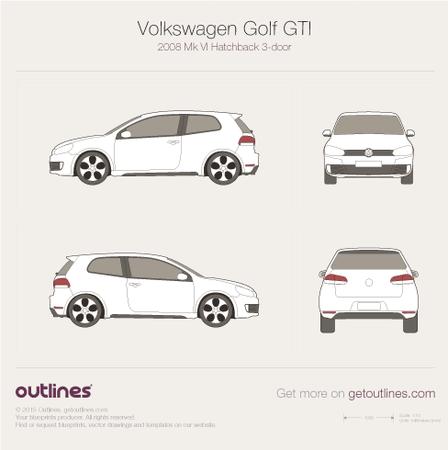 2009 Volkswagen Golf GTi Mk VI 3-doors Hatchback blueprint