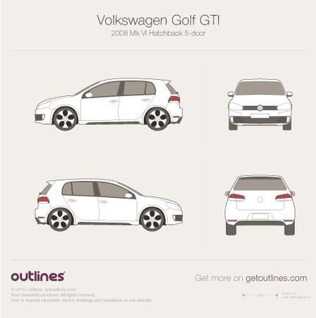 2009 Volkswagen Golf GTi Mk VI 5-doors Hatchback blueprint