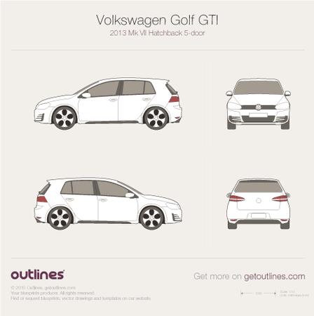 2013 Volkswagen Golf GTi Mk VII Hatchback blueprints and drawings