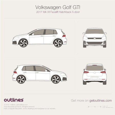 2017 Volkswagen Golf GTI Mk VII Hatchback blueprints and drawings