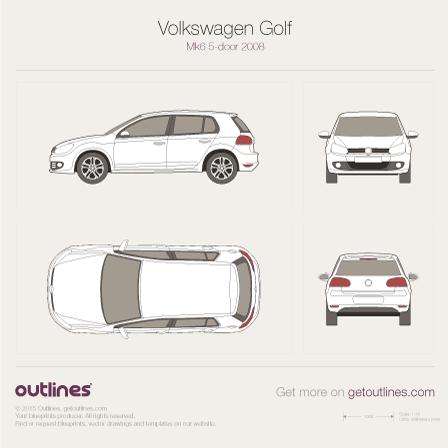 2009 Volkswagen Golf Mk6 Hatchback blueprints and drawings