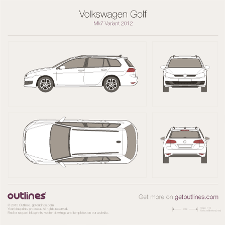 2012 Volkswagen Golf Estate Mk7 Wagon blueprints and drawings