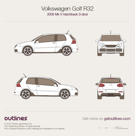 2005 Volkswagen Golf R32 Mk V 3-doors Hatchback blueprint