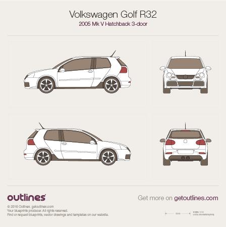 2005 Volkswagen Golf R32 Mk V Hatchback blueprints and drawings