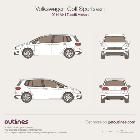 2013 Volkswagen Golf Sportsvan Mk I Minivan blueprints and drawings