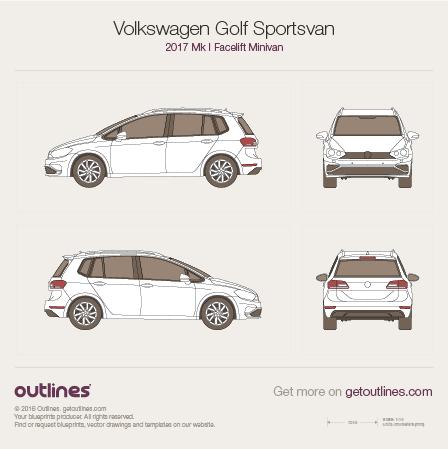 2017 Volkswagen Golf Sportsvan Mk I Facelift Minivan blueprint