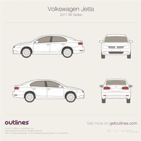 2011 - 2017 Volkswagen Jetta A6 Sedan drawings