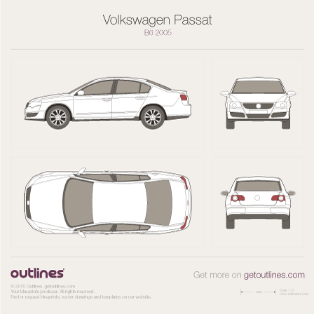 2005 Volkswagen Passat B6 Sedan blueprints and drawings