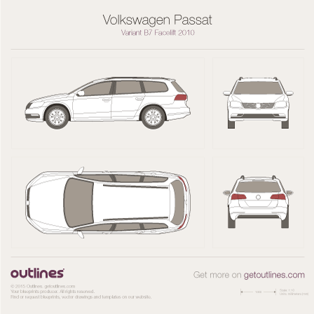 2011 Volkswagen Magotan Variant B7 Wagon blueprints and drawings