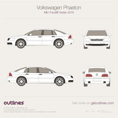 2007 Volkswagen Phaeton 3D Sedan blueprints and drawings