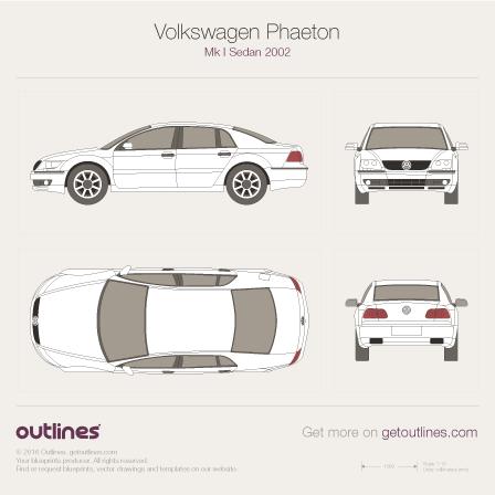 2002 Volkswagen Phaeton 3D Sedan blueprints and drawings