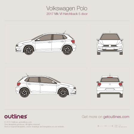 2017 Volkswagen Polo Mk VI 5-door Hatchback blueprint