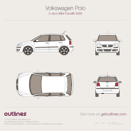 2005 Volkswagen Polo 9N Hatchback blueprints and drawings