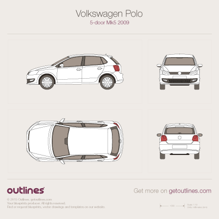 2009 Volkswagen Polo Hatchback blueprints and drawings