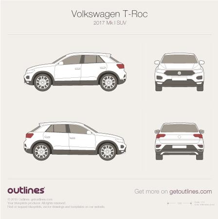 2017 Volkswagen T-Roc SUV blueprint
