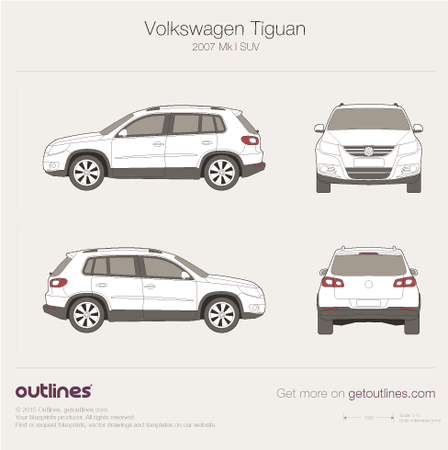 2007 Volkswagen Tiguan SUV blueprints and drawings