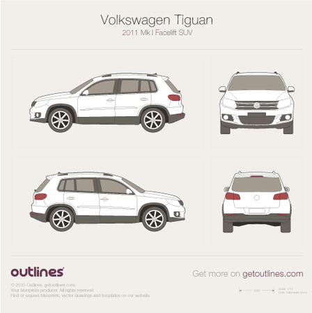 2011 Volkswagen Tiguan SUV blueprints and drawings