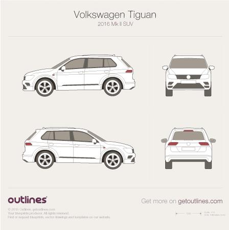 2017 Volkswagen Tiguan II SUV blueprints and drawings