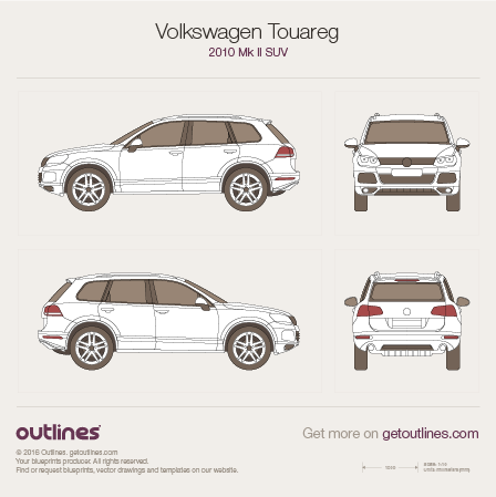 2010 Volkswagen Touareg 7P SUV blueprints and drawings