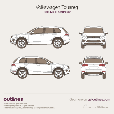 2014 Volkswagen Touareg 7P SUV blueprints and drawings