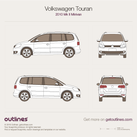2010 Volkswagen Touran II Minivan blueprints and drawings
