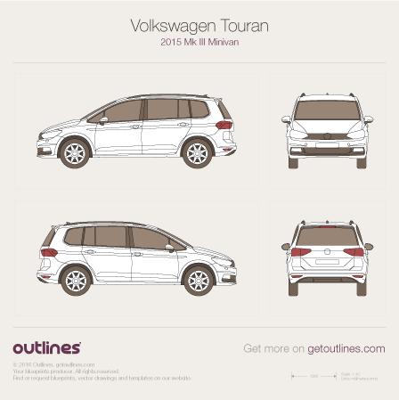 2015 Volkswagen Touran III Minivan blueprints and drawings