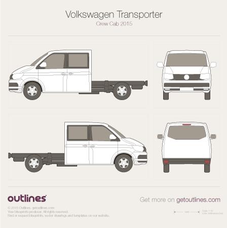 2015 Volkswagen Transporter Crew Cab T6 Van blueprint