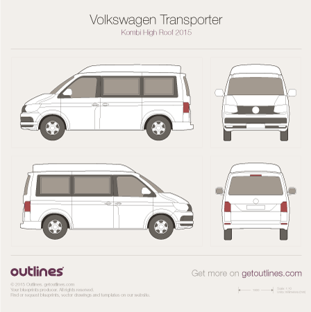 2015 Volkswagen Transporter Kombi T6 High Roof Wagon blueprint