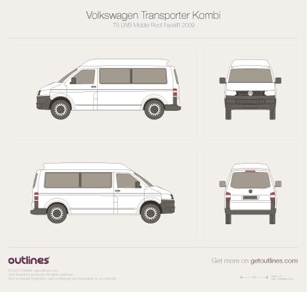 2009 Volkswagen Transporter Kombi T5 LWB Middle Roof Facelift Minivan blueprint