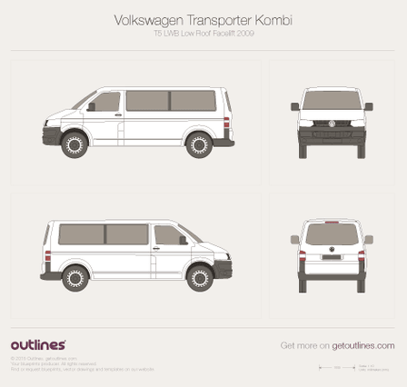 2009 Volkswagen Transporter Kombi T5 LWB Low Roof Facelift Minivan blueprint