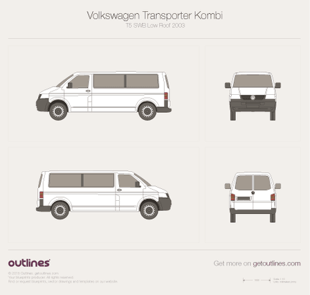2003 Volkswagen Transporter Kombi T5 SWB Low Roof Minivan blueprint