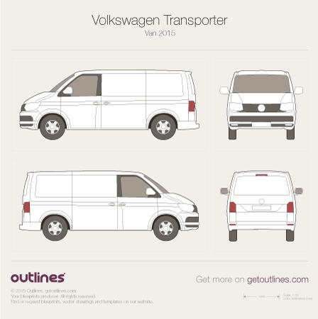 2015 Volkswagen Transporter Van T6 Van blueprints and drawings