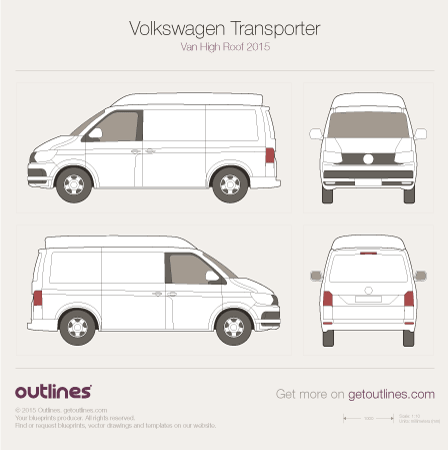 2015 Volkswagen Transporter Van T6 High Roof Van blueprint