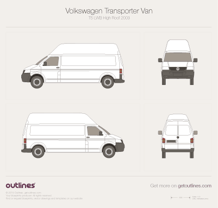 2003 Volkswagen Transporter Van T5 LWB High Roof Minivan blueprint