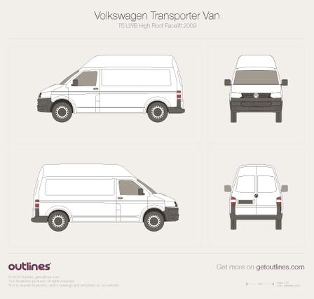 2009 Volkswagen Transporter Van T5 LWB High Roof Facelift Minivan blueprint