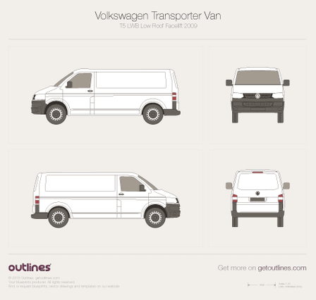 2009 Volkswagen Transporter Van T5 LWB Low Roof Facelift Minivan blueprint