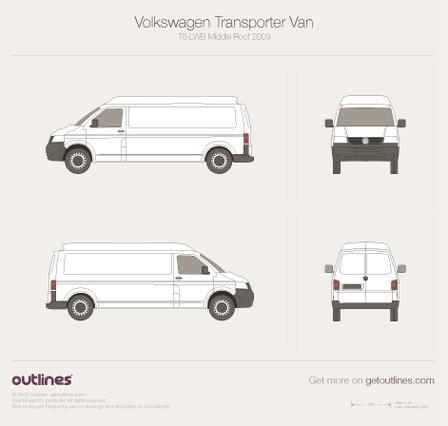 2003 Volkswagen Transporter Van T5 LWB Middle Roof Minivan blueprint