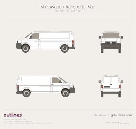 2003 Volkswagen Transporter Van T5 SWB Low Roof Minivan blueprint