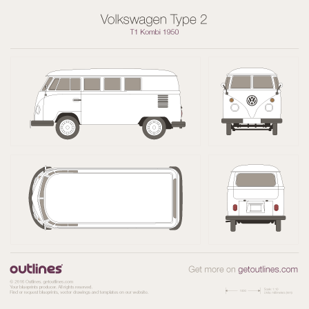 1950 Volkswagen Type 2 T1 Kombi Wagon blueprint