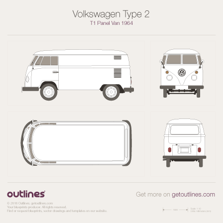 1950 Volkswagen Type 2 T1 Panel Van Van blueprints and drawings