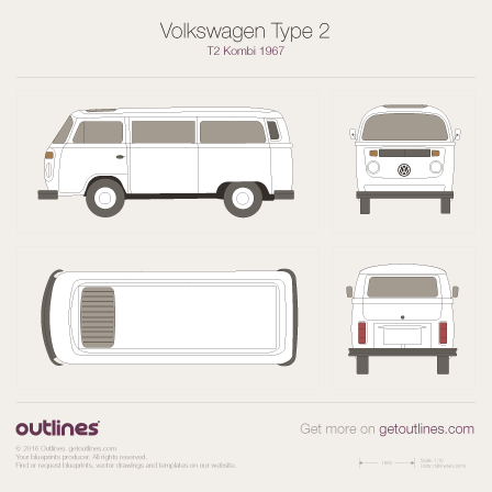 1967 Volkswagen T2 Transporter Microbus / Microvan Microvan blueprints and drawings