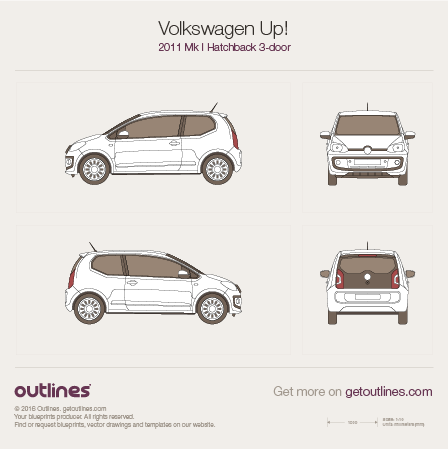 2012 Volkswagen Up! Hatchback blueprints and drawings
