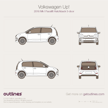 2016 Volkswagen Up! Hatchback blueprints and drawings