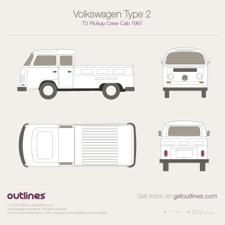 1967 Volkswagen Type 2 T2 Pickup Pickup Truck blueprints and drawings