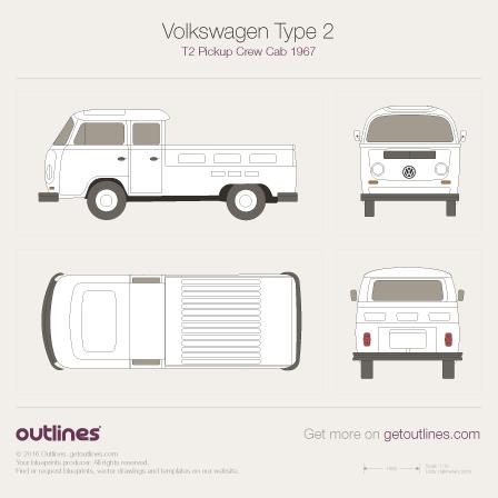 1967 Volkswagen Type 2 T2 Pickup Crew Cab Pickup Truck blueprint